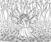 Print contemplative fairy adult coloring pages