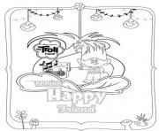 Printable Trolls Movie 2016 Spring Happy Friend coloring pages
