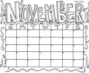 Print November Calendar coloring pages