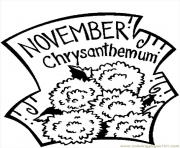 Printable November Chrysanthemum 2 coloring pages
