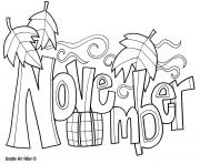Printable November Month coloring pages