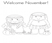 Printable welcome November coloring pages