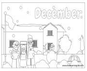 Print outline months december coloring pages