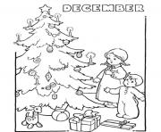 Print December tree kids gifts coloring pages