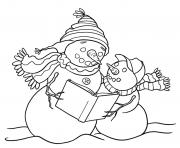 Printable reading snowman s7441 coloring pages