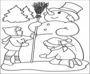 Printable winter kids are making snowman 55aa coloring pages