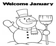 Print welcome january snowman s5f24 coloring pages