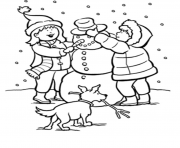 Print winter snow s kids making snowman 9baa coloring pages