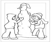 Print creating a snowman in winter s2b0b coloring pages