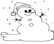 Printable easy winter snowman s101b coloring pages