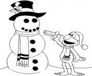 Print elmo and snowman winter s for kids d2f1 coloring pages