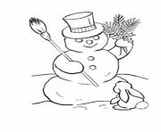 Printable rabbit and snowman s winter 12b4 coloring pages