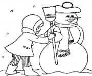 Print free winter s making a snowman 6547 coloring pages