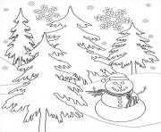Print snowflake and snowman winter s222c coloring pages