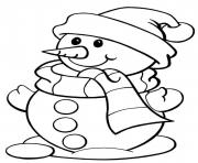 Printable christmas winter snowman and scarf16a9 coloring pages