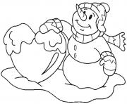 Printable winter snowman and snowball6264 coloring pages