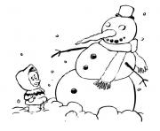 Printable kid and snowman winter s45a9 coloring pages
