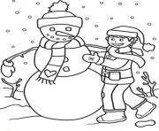 Printable a boy making snowman s to print 4de6 coloring pages