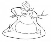 Printable christmas winter snowman with big hat11b2 coloring pages
