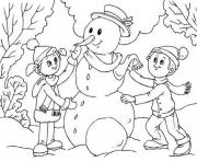 Printable making snowman for kids d05b coloring pages