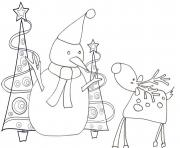 Printable reindeer and snowman s6bc0 coloring pages