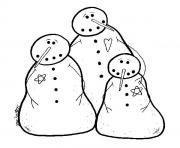 Print three snowman sc9f2 coloring pages