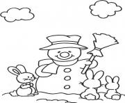 Printable rabbits and snowman s1bea coloring pages
