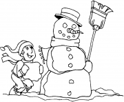 Print boy and snowman s to print 7987 coloring pages