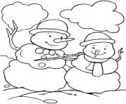 Print christmas winter two snowman 2aa0 coloring pages
