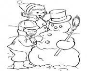 Print kids making snowman s winter 87cf coloring pages