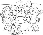 Printable preschool s winter snowman and kids 5d0f coloring pages