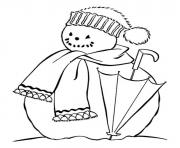 Printable snowman and umbrella s winter 7eb1 coloring pages