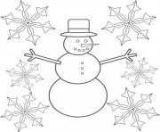 Printable snowman and snowflake sd15d coloring pages