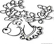 Printable Printable Christmas Reindeer in Lights  coloring pages