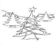 Print Tree with Christmas Lights coloring pages