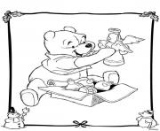 Print winnie the pooh disney christmas 4 coloring pages