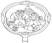 Print Beauty and the Beast disney christmas 4 coloring pages