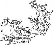 Print christmas santa claus and reindeer coloring pages