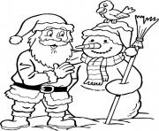 Print christmas santa claus having fun with snowman 39 coloring pages