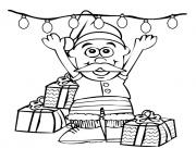 Printable little cute christmas santa claus with christmas lights68 coloring pages