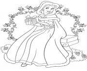 Printable princess belle christmas coloring pages