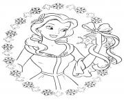Printable princess belle love to get gifts in christmas coloring pages