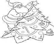 Printable santa decorating christmas tree s45bc coloring pages
