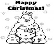 Printable happy christmas hello kitty s christmas tree 0e4e coloring pages