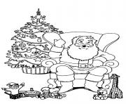 Printable christmas santa claus with tree 79 coloring pages