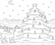 Printable free s christmas tree on snow9267 coloring pages
