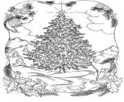 Printable adults christmas tree in nature coloring pages