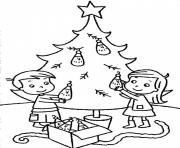Printable sibling decorating christmas tree b198 coloring pages
