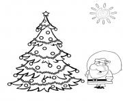Printable christmas tree and santa coloring pages