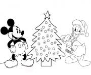 Printable donald and mickey by christmas tree disney e277 coloring pages